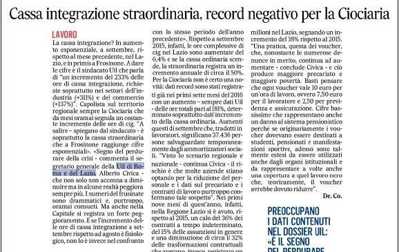 i nostri dati sul Messaggero edizione Frosinone