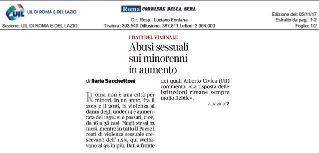Abusi sessuali. I dati della Uil sul Corriere della Sera