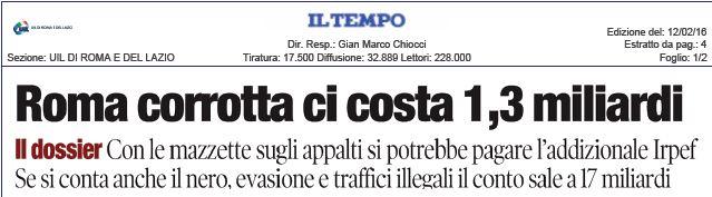Corruzione nel Lazio. Il nostro dossier sulle pagine del Tempo