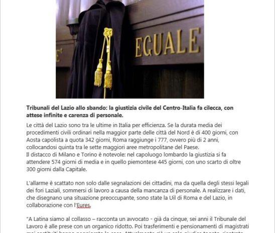 Tribunali lumaca nel Lazio. I nostri dati su affaritaliani.it