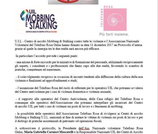Uil e Telefono Rosa firmano protocollo d'intesa contro mobbing & stalking