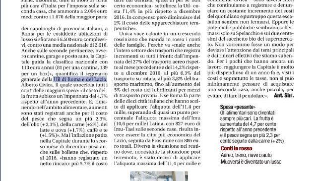 Tasse e rincari. La Uil di Roma e del Lazio sulle pagine del Tempo
