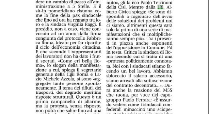 Dal sit in ultimatum alla sindaca Raggi. La Uil del Lazio su Leggo