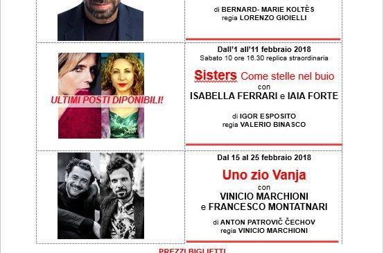 Teatro Ambra Jovinelli – programmazione Gennaio e Febbraio 2018