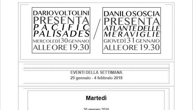 Dario Voltolini da assaggi mercoledì! Giovedì Danilo Soscia con il suo Atlante delle meraviglie!