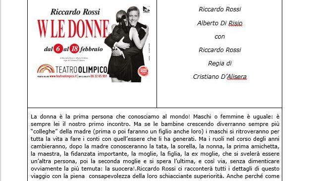 Teatro Olimpico – Riccardo Rossi – W le donne!