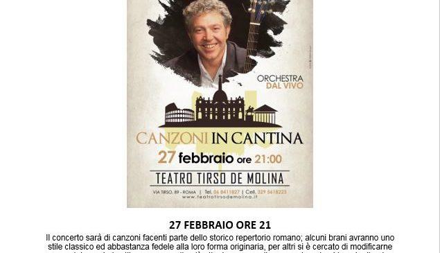 """Teatro Tirso de Molina – FABRIZIO AMICI in concerto """"CANZONI IN CANTINA"""" 27 Febbraio ore 21"""