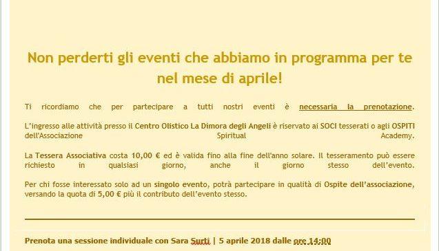 La Dimora degli Angeli – gli appuntamenti di Aprile