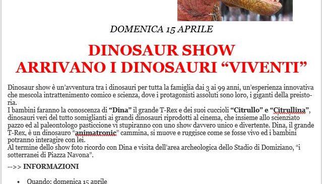 """Stadio di Domiziano  DINOSAUR SHOW – ARRIVANO I DINOSAURI """"VIVENTI"""""""