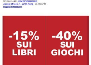 Libreria ASSAGGI  SCONTI : -15% sui libri. -40% sui giochi!