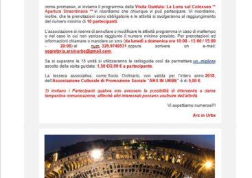 ARS URBE – la Luna sul Colosseo ** Apertura Straordinaria **