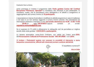"""Associazione Culturale di Promozione Sociale """"Ars in Urbe"""" –  Casina del Cardinal Bessarione"""