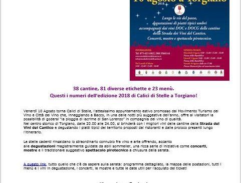 Calici di Stelle – Torgiano, 10 Agosto 2018 – Tutto il programma