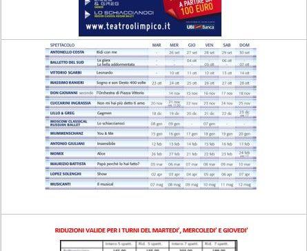Teatro Olimpico – Abbonamenti ridotti stagione 2018 – 2019