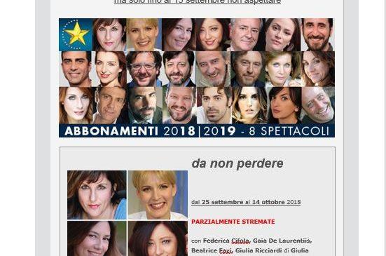 Teatro Golden – Stagione 2018/2019 – Spettacoli