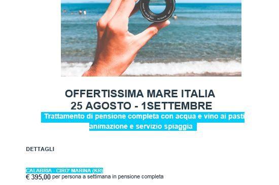 OFFERTISSIMA MARE ITALIA   25 AGOSTO – 1 SETTEMBRE