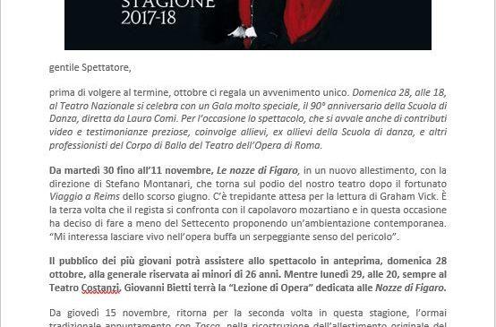 Teatro dell'Opera di Roma – Newsletter novembre 2018