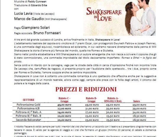 Al Teatro Brancaccio, a tre anni dal grande successo di Londra,  arriva finalmente in Italia, Shakespeare in Love!
