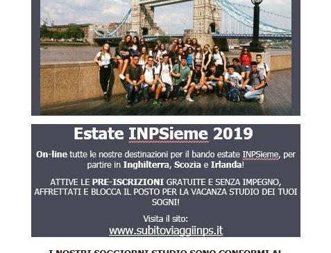 Estate INPSieme 2019 / Pre-iscrizioni attive!