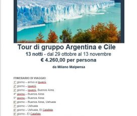 ED E' SUBITO VIAGGI – Tour Argentina e Cile