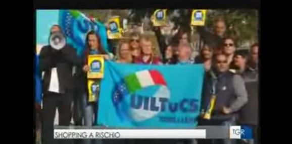 Fuori Tutti, sciopero della grande distribuzione. Alberto Civica al Tg3 Lazio