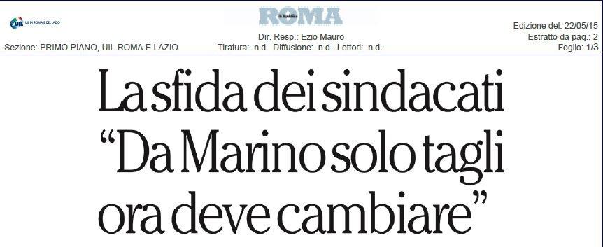 La sfida dei sindacati a Marino sulle pagine di Repubblica