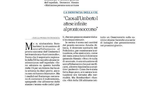 Caos all'Umberto I. La nostra denuncia su Repubblica