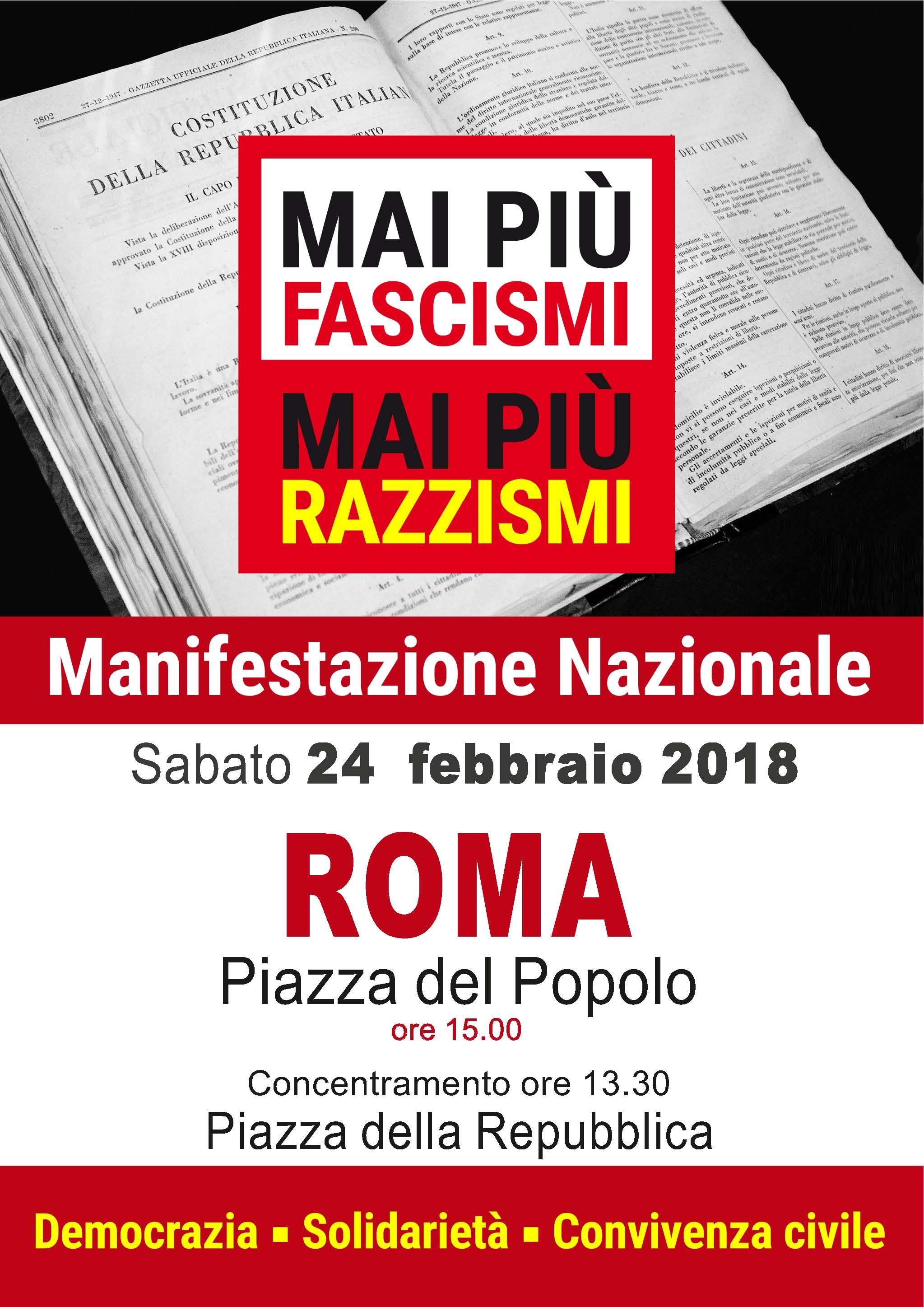 """Manifestazione 24 febbraio """"Mai più fascismi, mai più razzismi"""""""