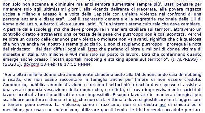 Dichiarazione della Responsabile del Centro di Ascolto UIL Lazio – Laura Latini