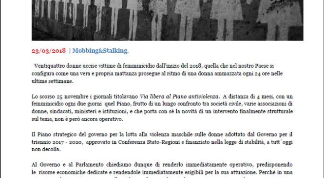 Alessandra Menelao –  rendere immediatamente operativo il Piano Strategico per la lotta alla violenza maschile sulle donne