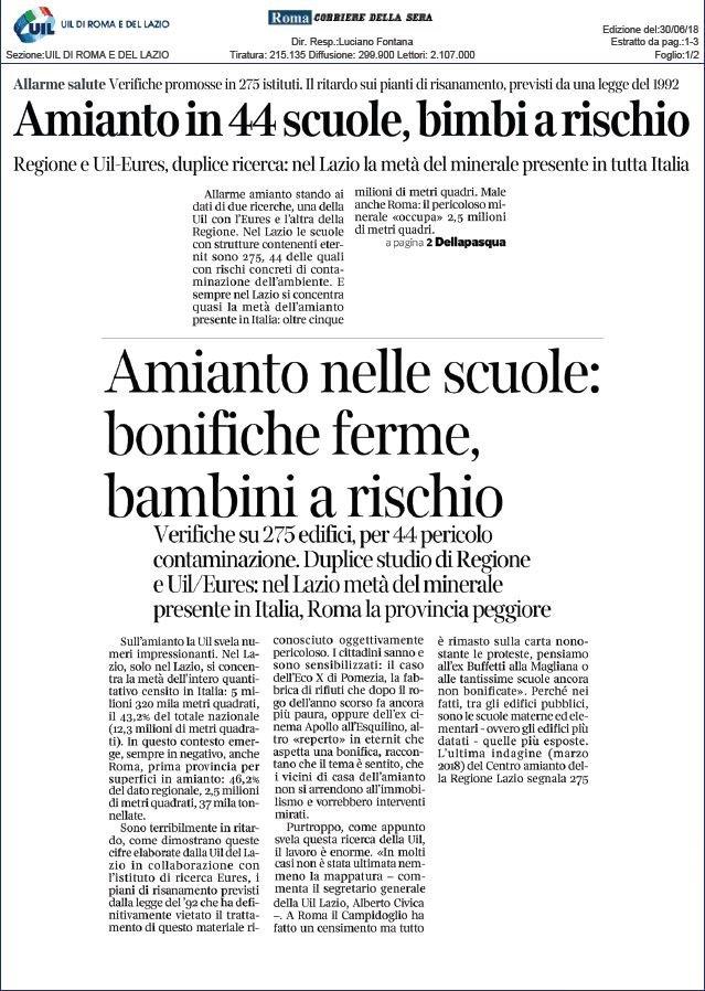 Rischio amianto nelle scuole del Lazio. La nostra inchiesta sul Corriere della Sera
