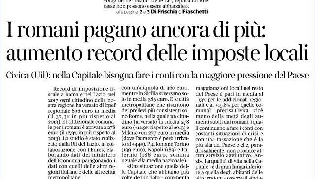 Irpef, i romani pagano di più. La nostra inchiesta sulle pagine del Corsera