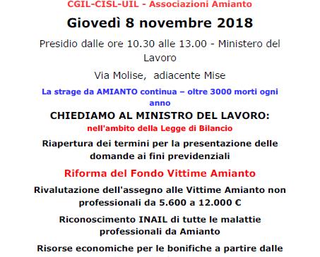 Italia Libera dall'amianto. Sit in sotto il Mise