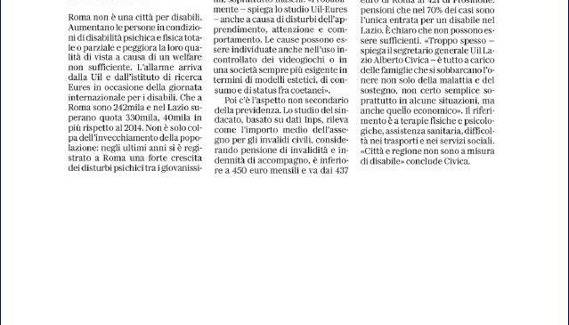 Disabilità Lazio, i nostri dati sul quotidiano La Repubblica