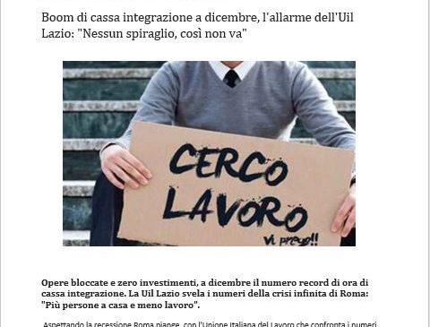 Boom della cassa integrazione a Roma. La Uil su affaritaliani.it