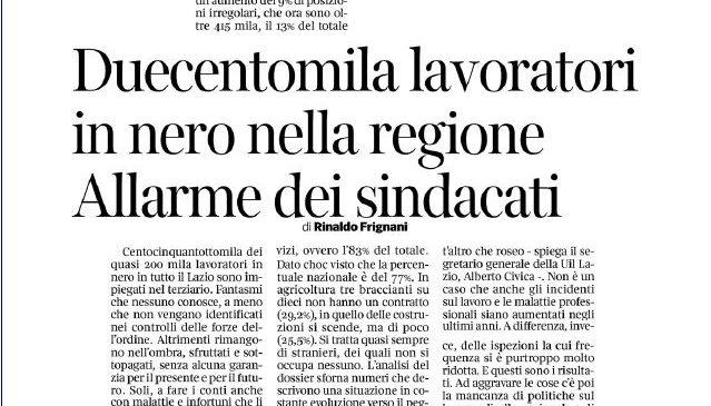 Lazio, 200mila lavoratori in nero. I nostri dati sul Corriere della Sera