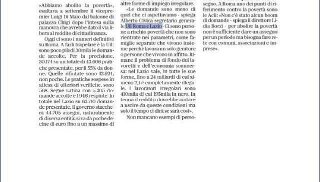 Reddito di cittadinanza, il nostro focus sul quotidiano La Repubblica