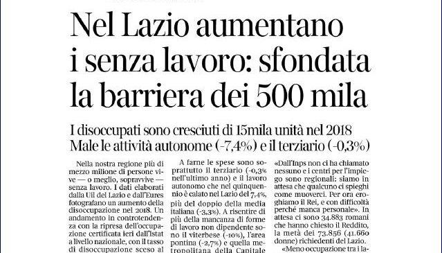 Aumenta la disoccupazione nel Lazio. I nostri dati sul Corsera